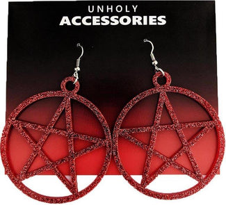Mini Pentagram [Ruby Glitter] | EARRINGS
