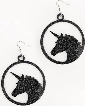 Unicorn [Black Glitter] | EARRINGS