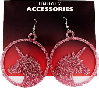 Unicorn [Rose Pink Glitter] | EARRINGS