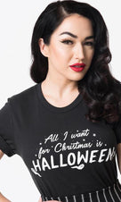 Black All I Want For Christmas Is Halloween | TEE UNISEX