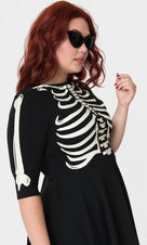 Black Skeleton Bones Graves | SWING DRESS