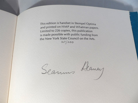 HEANEY, Seamus. VERSES FOR A FORDHAM COMMENCEMENT