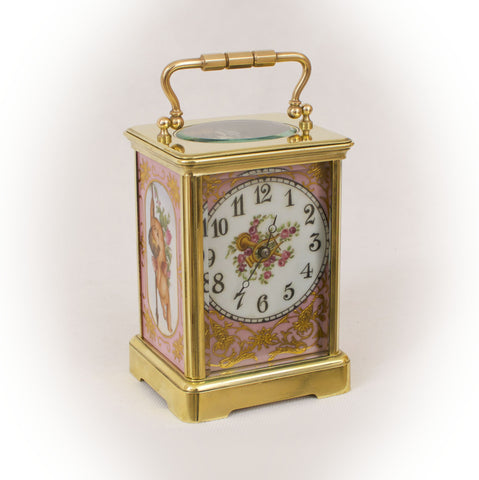 A SEVRES STYLE PORCELAIN MOUNTED ORMOLU CARRIAGE CLOCK c.1890 [626CC]
