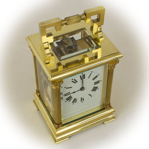 A LARGE IMPRESSIVE ANTIQUE ANGLAISE RICHE CARRIAGE CLOCK c.1890 [631CC]