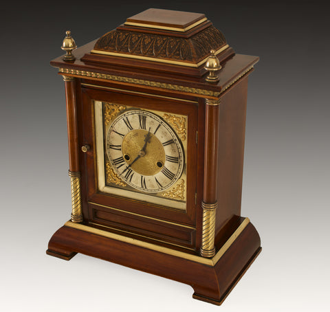 LATE 19TH.C POLISHED WALNUT  TING TANG STRIKING MANTEL CLOCK c.1900