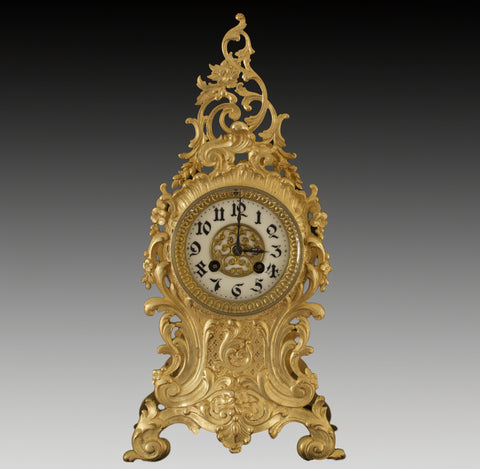 ANTIQUE JAPY FRERES GILT SPELTER ROCOCO STRIKING MANTEL CLOCK c.1880