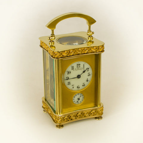 ANTIQUE FRENCH LOUIS XV STYLE FILIGREE BANDED CARRIAGE CLOCK TIMEPIECE c.1890