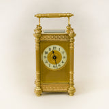 SUPERB RESTORED FRENCH 'COUAILLET FRERES' FILIGREE BANDED CARRIAGE CLOCK c.1900 [653cc]
