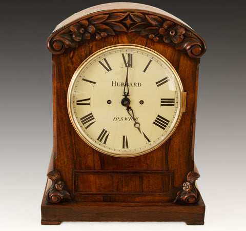 GEORGIAN ENGLISH ROSEWOOD DOUBLE FUSEE BRACKET CLOCK c.1830