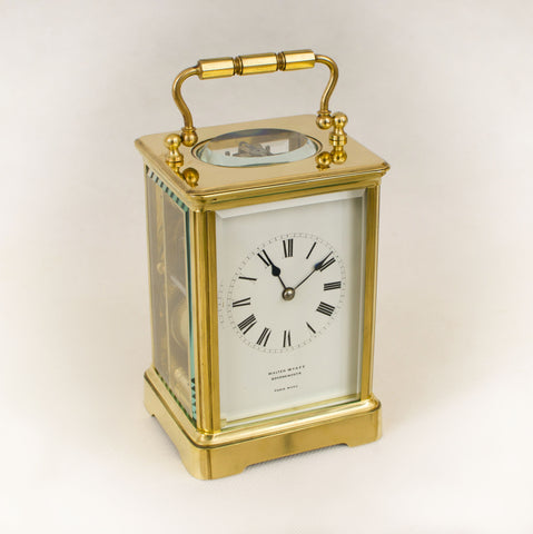 LARGE RESTORED FRENCH ANTIQUE RICHARD & CO STRIKING CARRIAGE CLOCK c1890 [654CC]