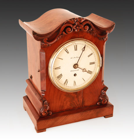 CHAIN FUSEE MANTEL CLOCK - MID 19TH CENTURY - IN FLAME MAHOGANY CASE