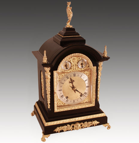 ANTIQUE ENGLISH STYLE EBONISED BRACKET CLOCK BY WINTERHALDER & HOFMEIER