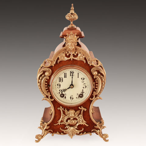 LOUIS XV TASTE LENZKIRCH BURR WALNUT ORMOLU MOUNTED BRACKET CLOCK   c.1889