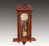ANTIQUE GUSTAV BECKER WALNUT DOUBLE WEIGHT VIENNA REGULATOR WALL CLOCK c.1895