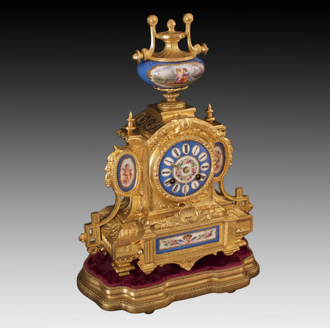SAMUEL MARTI BLUE SEVRES PORCELAIN & GILT ORMOLU STRIKING MANTEL CLOCK c.1880