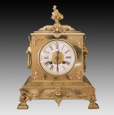 JAPY FRERES ANTIQUE GILT & ORMOLU MOUNTED MANTEL CLOCK c.1860 - M.R.& Co Paris