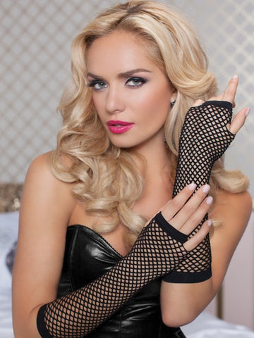 Ladies fishnet gloves, long, BLACK