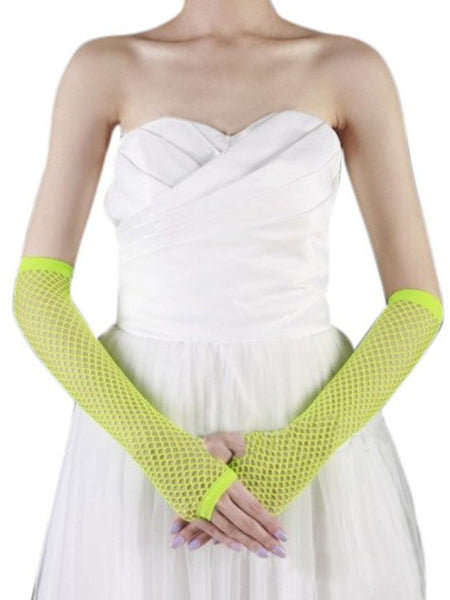 Ladies fishnet gloves, long, FLUORO YELLOW