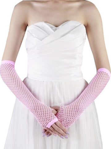Ladies fishnet gloves, long, LIGHT PINK