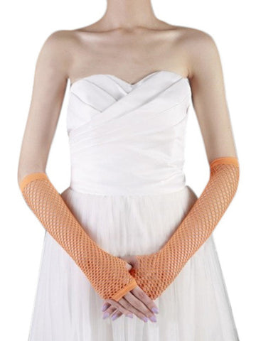 Ladies fishnet gloves, long, ORANGE