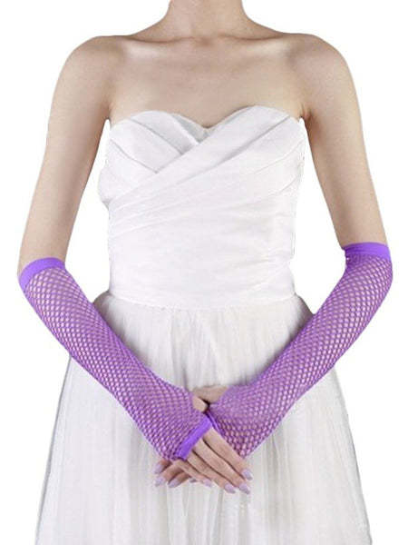 Ladies fishnet gloves, long, PURPLE