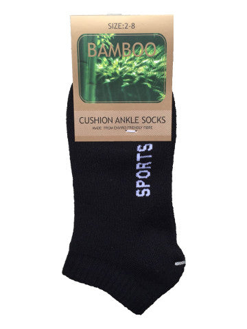 Ladies ankle socks, size 2-8, bamboo, BLACK