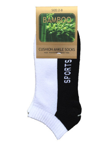 Ladies ankle socks, size 2-8, bamboo, WHITE-BLACK