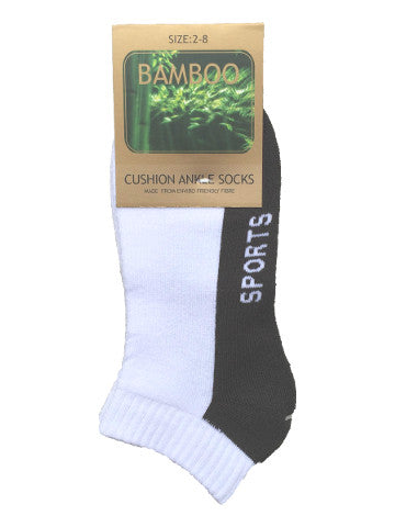 Ladies ankle socks, size 2-8, bamboo, WHITE-GREY