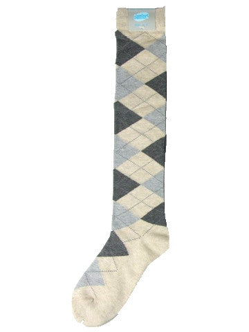 Ladies knee-high socks, size 2-8, BEIGE-GREY ARGYLE