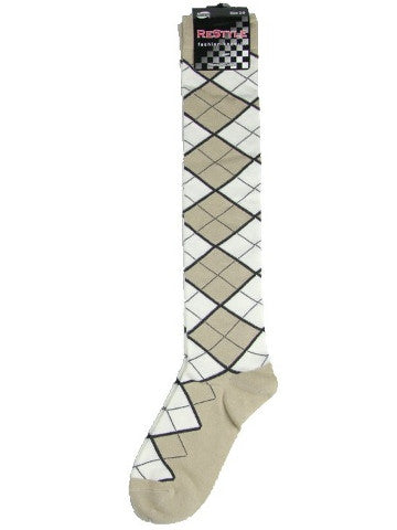 Ladies knee-high socks, size 2-8, BEIGE-WHITE ARGYLE
