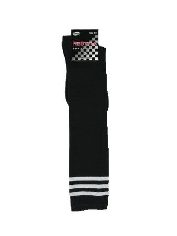 Ladies knee-high socks, size 2-8, BLACK-3-WHITE stripe