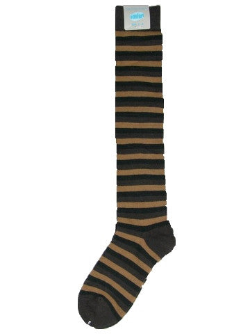 Ladies knee-high socks, size 2-8, BLACK-BROWN-BROWN stripe