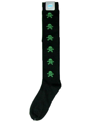 Ladies knee-high socks, size 2-8, BLACK-GREEN SKULLS