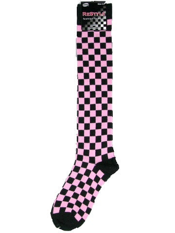 Ladies knee-high socks, size 2-8, BLACK-PINK CHECKS