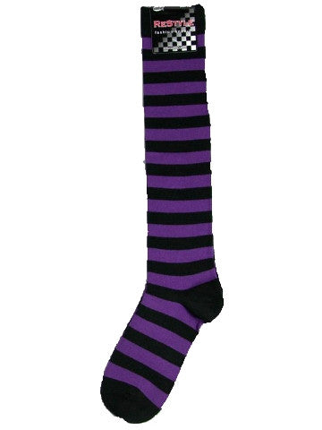 Ladies knee-high socks, size 2-8, BLACK-PURPLE thick stripe