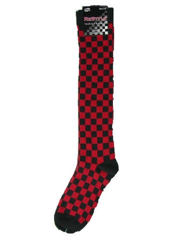 Ladies knee-high socks, size 2-8, BLACK-RED CHECKS