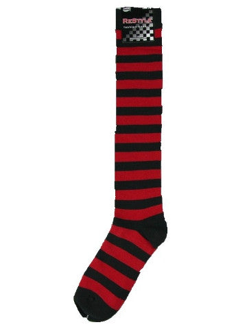 Ladies knee-high socks, size 2-8, BLACK-RED thick stripe