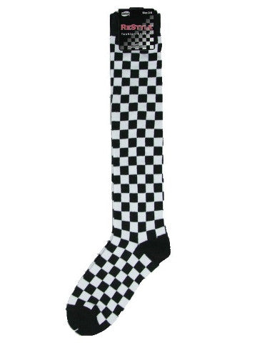Ladies knee-high socks, size 2-8, BLACK-WHITE CHECKS