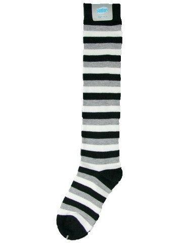 Ladies knee-high socks, size 2-8, BLACK-WHITE-GREY stripe