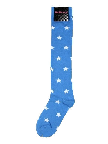 Ladies knee-high socks, size 2-8, BLUE-WHITE STARS