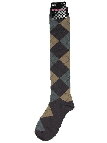 Ladies knee-high socks, size 2-8, BROWN-GREY ARGYLE