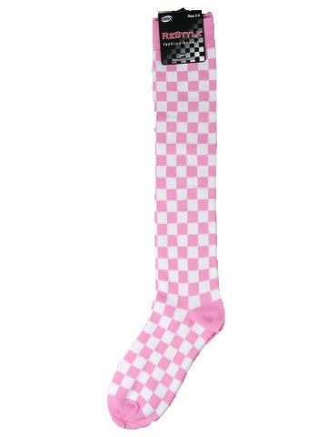 Ladies knee-high socks, size 2-8, PINK-WHITE CHECKS