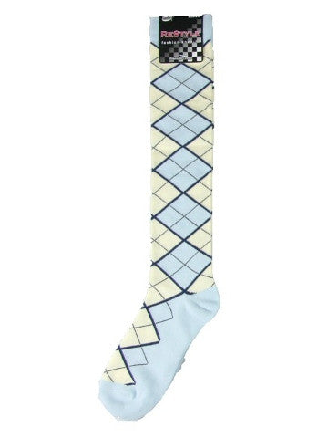 Ladies knee-high socks, size 2-8, SKY BLUE-CREAM ARGYLE