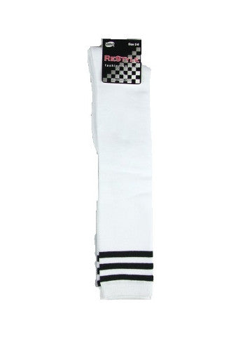 Ladies knee-high socks, size 2-8, WHITE-3-BLACK stripe