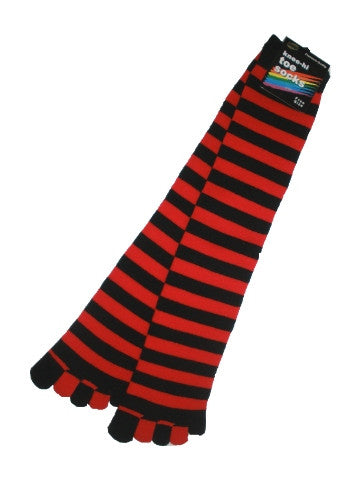 Ladies knee-high toe socks, size 2-8, stripes, BLACK-RED