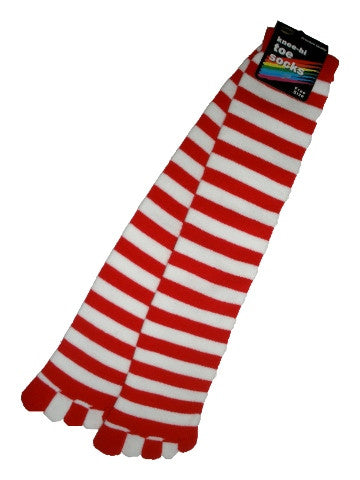 Ladies knee-high toe socks, size 2-8, stripes, WHITE-RED