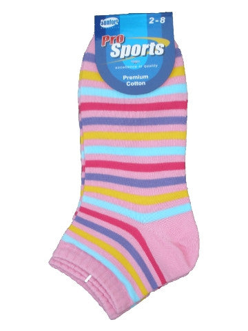 Ladies ankle socks, size 2-8, pro sports, PINK RAINBOW