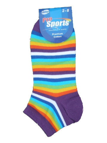 Ladies ankle socks, size 2-8, pro sports, PURPLE RAINBOW