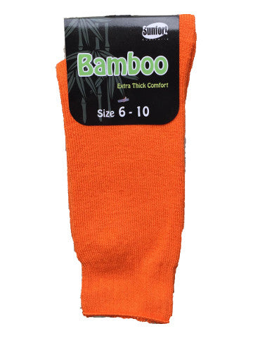 Mens outdoor work socks, size 6-10, bamboo, HI-VIS ORANGE