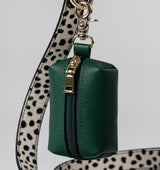 Classic Hunter Green Leather Poop Bags